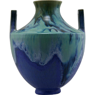 "Fulper 9.5"" x 8"" Arts & Crafts Vase Boxy Handles #485 1909-1917 In Green Over Blue Glazes F159"