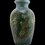 "Peters & Reed Chromal 13.25"" Vase W/Scenic Meadow/Rolling Hills Landscape Motif"