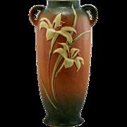 "Roseville Zephyr Lily 18.5"" Floor Vase 142-18 In Rich Orange Russet/Green Glazes"