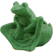 "Niloak 4.5"" x 4.5"" Novelty Frog/Waterlily Planter/Bowl Matte Green Glazes Mint"