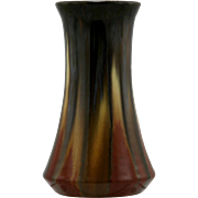 "Fulper 7.5"" Vase In Rich Mahogany/Black/Buttercream Drip Glazes 1909-1916 Mint"