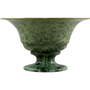 "Fulper 6"" x 10"" Pedestaled Bowl Shape 676 c1922-1928 In Green Crystalline Frogskin Glazes Mint F563"