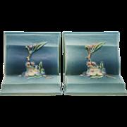 """Roseville Apple Blossom 5.25"""" Bookends In Blushed Blue Glazes 359 Mint"""