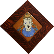 "Flint Faience Company 9.5"" (6"") Framed Tile c1920-1933 Pippi Longstocking"