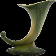"Roseville Russco 8"" Cornucopia Vase #110-8 In Gold/Platinum/Green Crystalline"