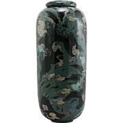 """Contemporary Studio 15.5"""" Lidded Jar By Sarah In A Gorgeous Coral/Seagrass Mofif Mint"""