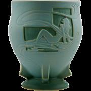 "Roseville Silhouette Nude 8.25"" Pedestaled Vase 763-8 Rich Turquoise Glaze Mint"