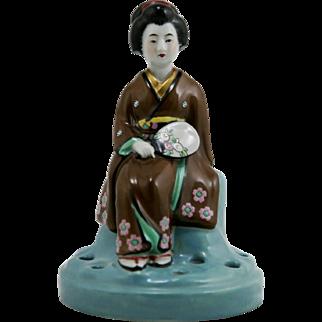 "Japanese Meiji Period Kutani Porcelain 6.5"" Geisha Flower Frog Mint"