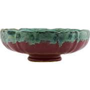 "Fulper 3.25"" x 9.5"" Fluted Bowl In Blue/Green Over Rose Drip Matte Glazes Mint F474"