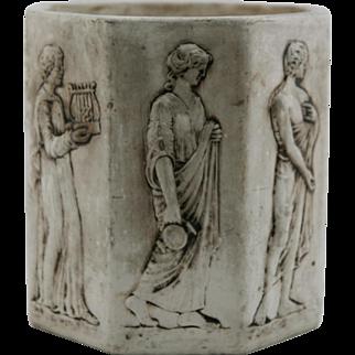 "Weller RARE Narona 10.5"" by 10.5"" Octagonal Jardiniere With Grecian Figures c1909"