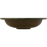 "Fulper 8"" Flat-Rimmed Arts & Crafts Bowl In Matte Brown/Green Flambe Glazes c1909-1917 Mint F566"