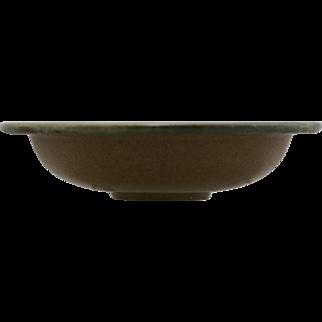 """Fulper 8"""" Flat-Rimmed Arts & Crafts Bowl In Matte Brown/Green Flambe Glazes c1909-1917 Mint F566"""