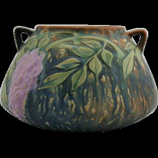 "Roseville Wisteria 4"" Urn/Vase In Gorgeous Blue Glaze Crisp Mold #242-4 Mint"