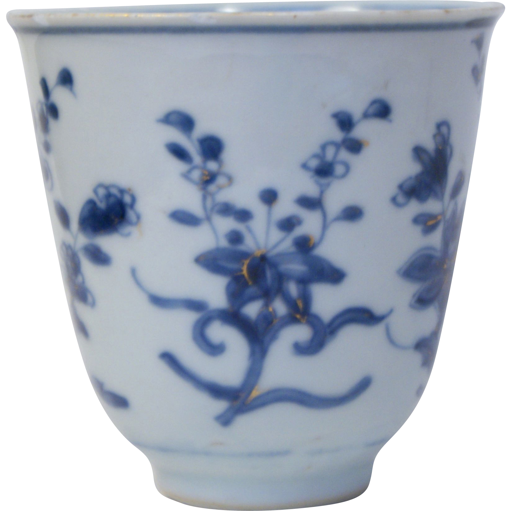 Antique Chinese Porcelain Kangxi Period Lotus Flower Cup With Mark