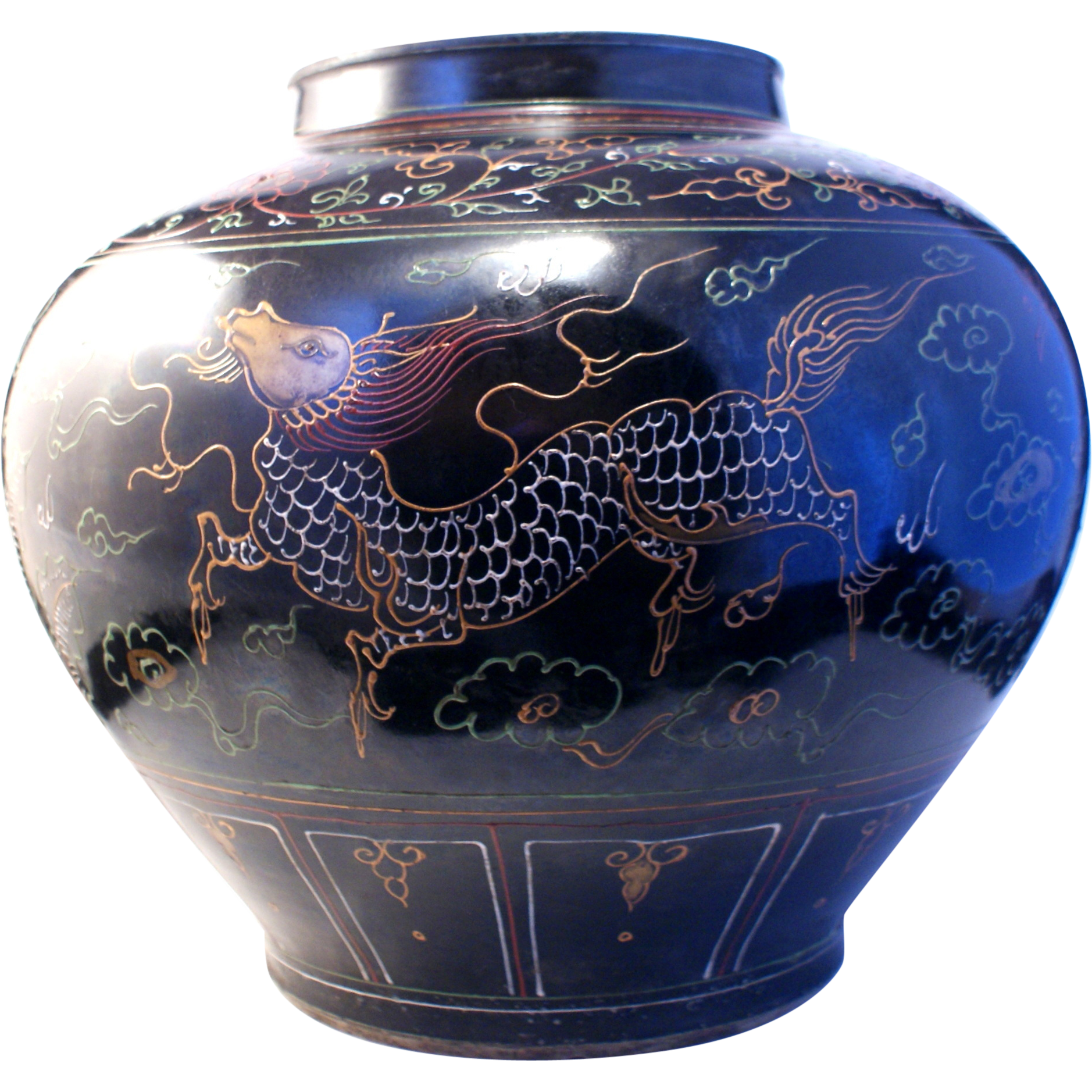 antique 18th century chinese famille noir porcelain vase. Black Bedroom Furniture Sets. Home Design Ideas