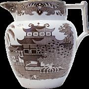 Antique Georgian English Pearlware water jug circa 1800-10 Brown transfer pattern