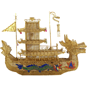 Antique Chinese Gilt filigree & Enamel Dragon boat