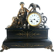 Antique 19th Century French Spelter & Slate  mantle clock