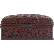 antique 18th century Chinese deep carved Cinnabar box with Tianma winged horse