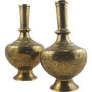 Antique pair of Islamic Arabic Brass hand engraved pair of vases