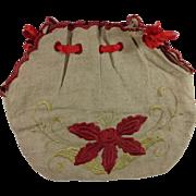 Vintage Hand Embroidered Linen Bag - Red Tag Sale Item