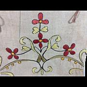 Vintage Hand Embroidered Linen Bag