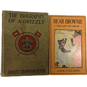 2 Books : Biography of a Bear by Thompson-Seton & Bear Brownie Revised by Jane Fielding