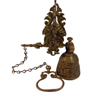 Cast Wall Mounted Brass Bell with Pull Chain