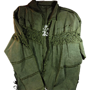 Green Leather & Macrame Jacket (M)
