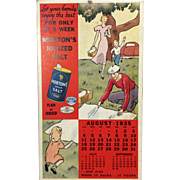 1935 Morton Salt Fan Pull:  Advertising Calendar