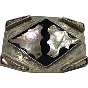 Silver & Abalone Handmade Belt Buckle