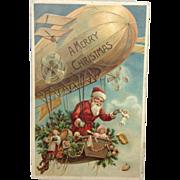 German Embossed Santa in Zeppelin