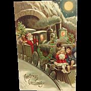 Embossed, Chromo, Gold Gel, Santa, Train, Children