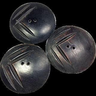 Wooden Button Trio