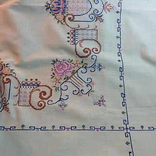 Mint Green & Cross Stitched Table Cloth