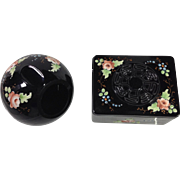 Black Glass Orb Ashtray & Box Set