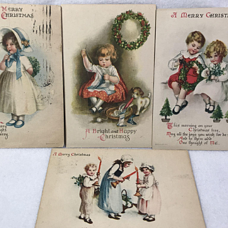 Children At Christmas / 4 Postcards