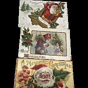3 Embossed Santas