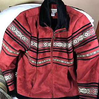 Red Suede Leather Ladies Jacket Large