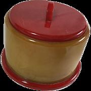 Bakelite: Red / Butterscotch Vanity Jar