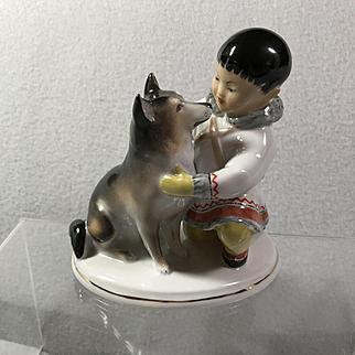 Lomonosov LFZ Inuit Boy & Husky Dog