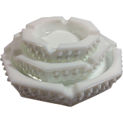 Fenton Hobnail Milk Glass Stacking Ashtray Set