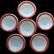 Pyrex Pink Flamingo Dessert Bowls 1950's Opal Milk Glass Set of 6 (#1)
