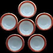 Pyrex Pink Flamingo Dessert Bowls 1950's Opal Milk Glass Set of 6 (#2)