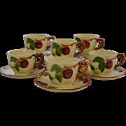 Set of 6 Franciscan Ware Apple Motif Cups & Saucers