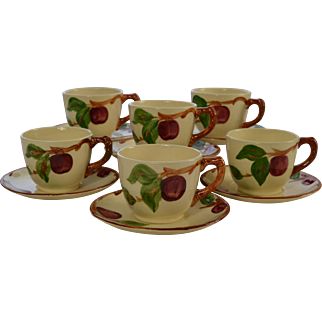 Set of 6 Franciscan Ware Apple Motif Cups & Saucers