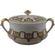 Art Nouveau Limoges Porcelain Biscuit Jar Tressemann & Vogt artist signed 1914