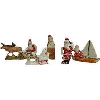 Set of 5 original Santa Claus Snow Babies from the beginning of the 20th century.