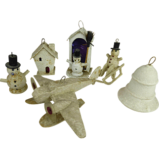 A set of 6 original pieces early Christmas decorations from appr. 1930