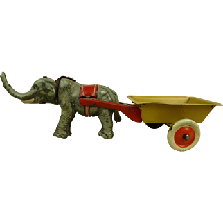 Penny Toy Elephant with nodding head  pulling his Cart from Meier, Germany, 1900
